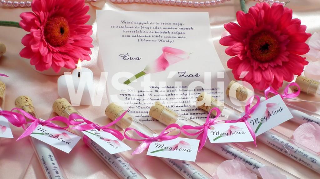Pink esküvői meghívó