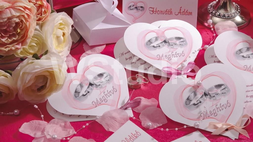 Szív alakú esküvői meghívó