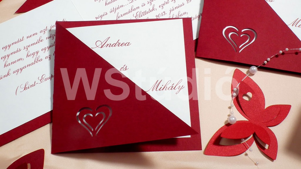 Bordó esküvői meghívó
