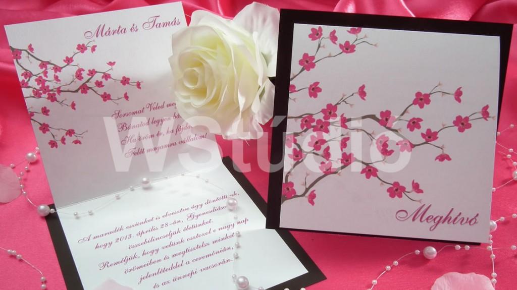 Cseresznyevirágos esküvői meghívó