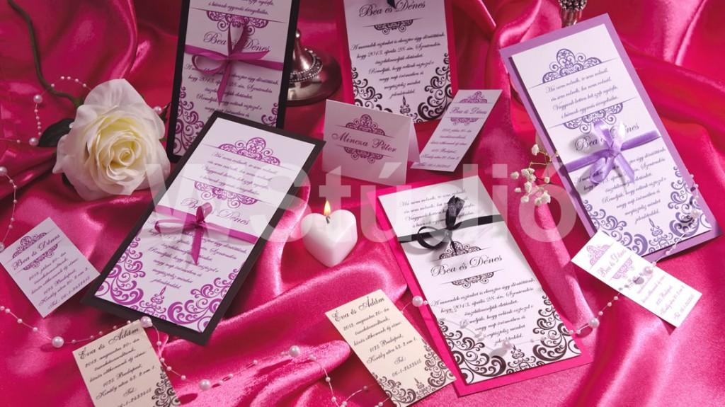Színes mintájú esküvői meghívó