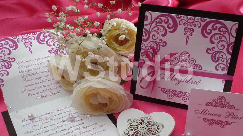 Nonfiguratív esküvői meghívó pink
