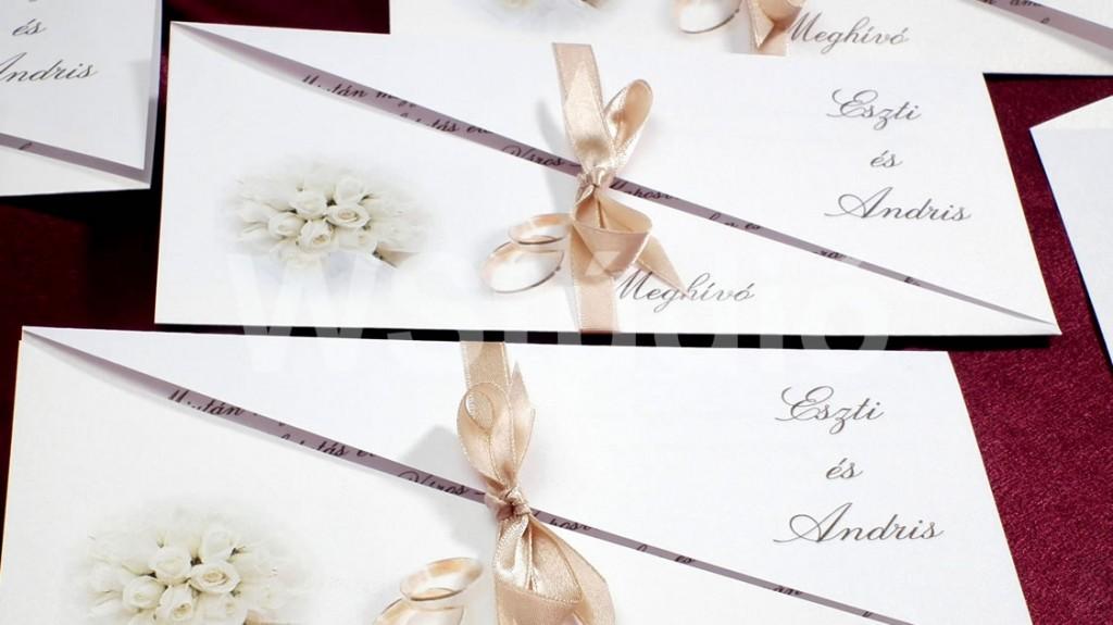 Fehérarany színű esküvői meghívó