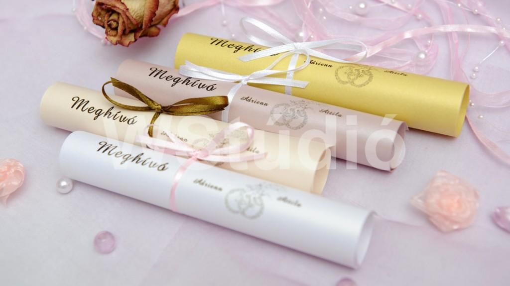 Gyöngyháztekercses esküvői meghívók