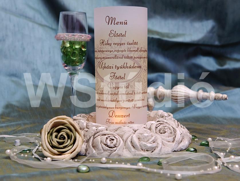 Menühenger az esküvői asztalra