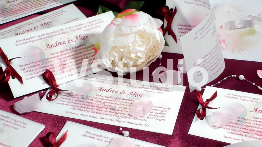 Bordó színű pausz rátétes esküvői meghívó