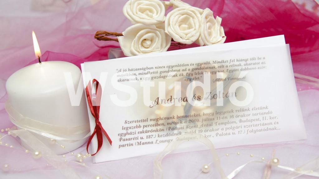 Pausz rátétes esküvői meghívó