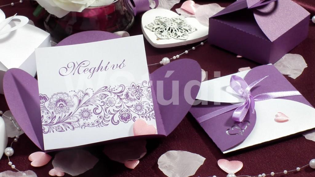 Szirom formájú meghívó lila színben