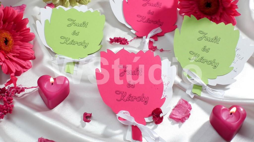 Tulipános esküvői meghívó