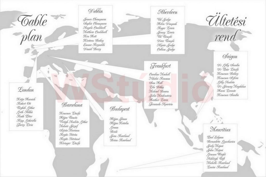 Nemzetközi esküvő ültetőtáblája