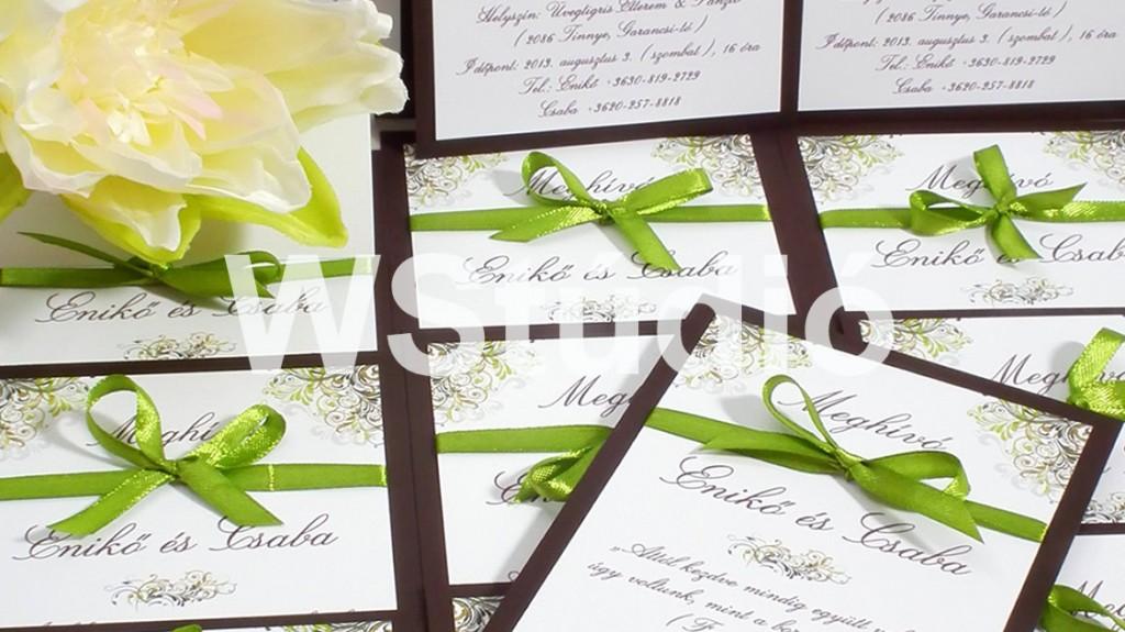 Zöld barna esküvői meghívó