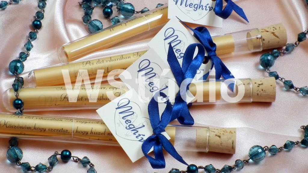 Kék szalagos esküvői meghívó