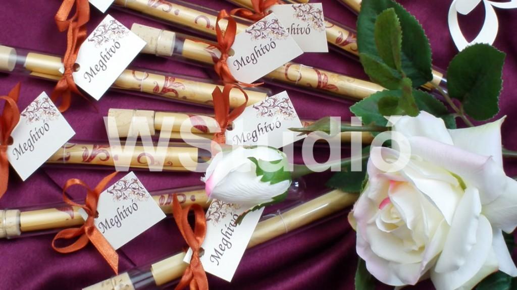 Arany színű üvegcsés esküvői meghívók