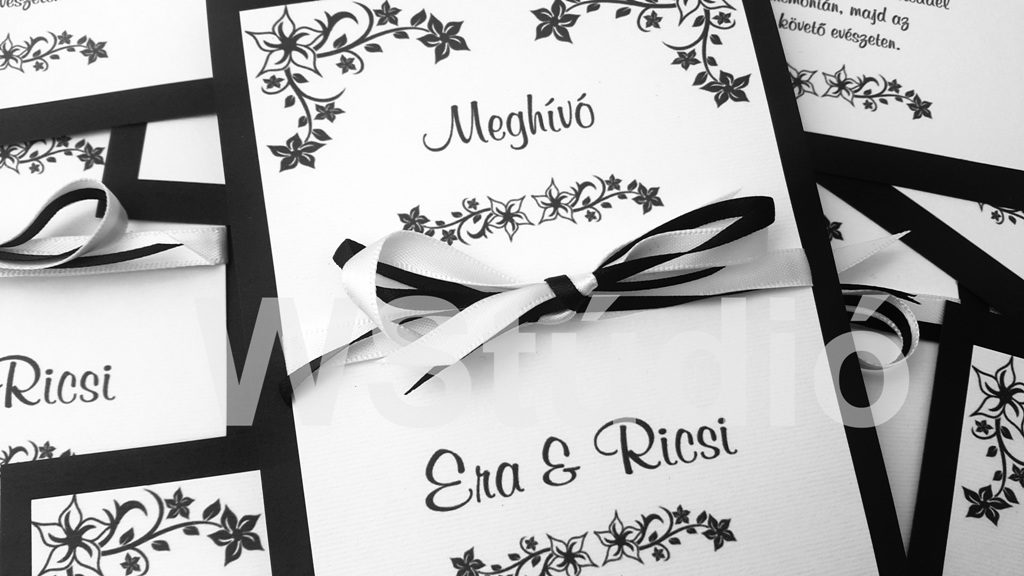 Fekete fehér esküvői meghívó