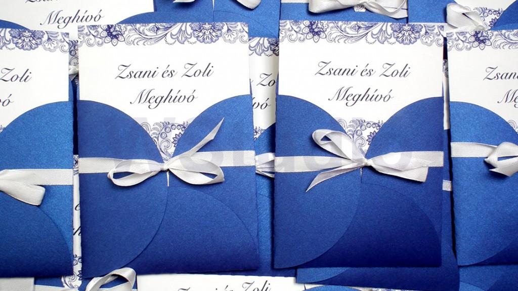 Kék fehér esküvői meghívó