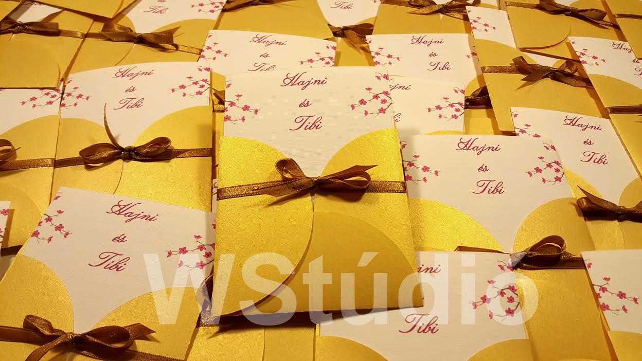 Arany tasakos esküvői meghívó