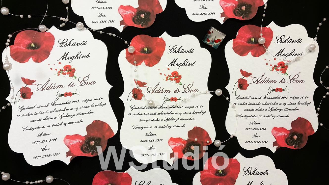 Pipacsos esküvői meghívó