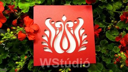 Piros tulipános magyaros esküvői meghívó