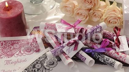 tekercses meghívó típus esküvőre