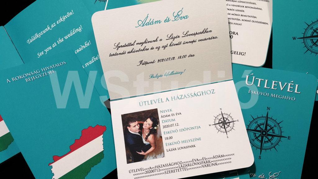 Útlevél esküvői meghívó