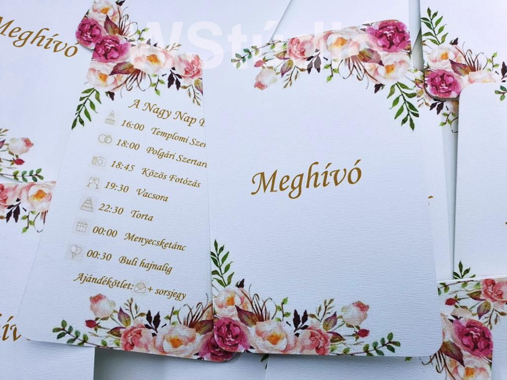 Virágmintás esküvői meghívó