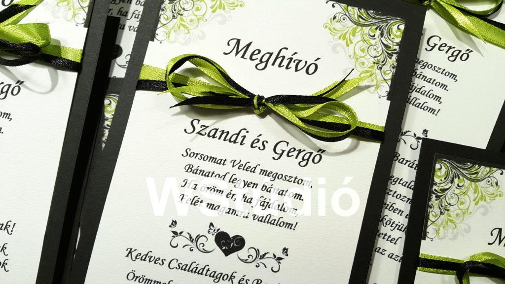 Szatén szalagos esküvői meghívó