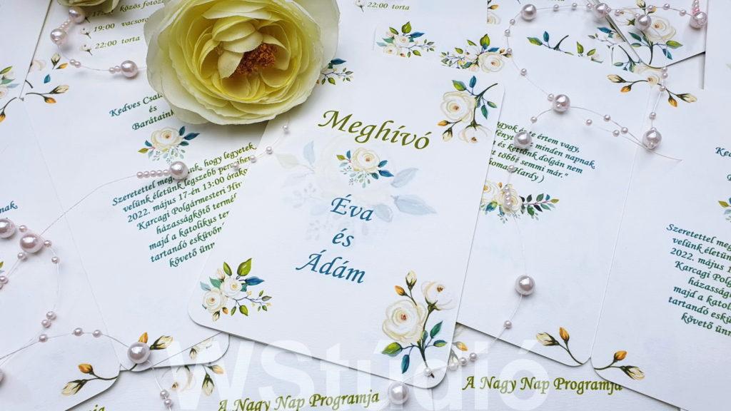 Fehér rózsa esküvői meghívó
